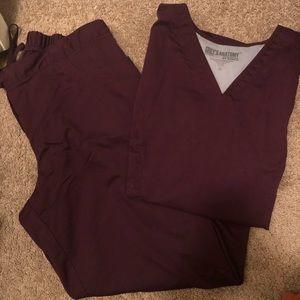 Greys Anatomy plum scrubs